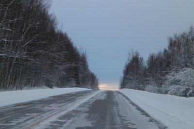 アラスカの雪道
